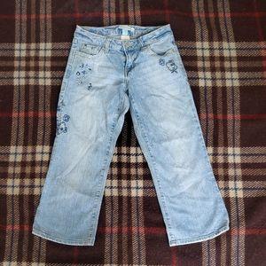 AEROPOSTALE Womens Sz 0 Blue Jeans with Flowers